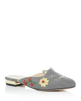Charlotte Olympia - Women's Sabot Kitty Embroidered Mules