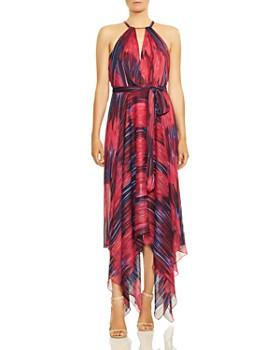 284b8d33104 HALSTON HERITAGE - Printed Handkerchief-Hem Gown ...