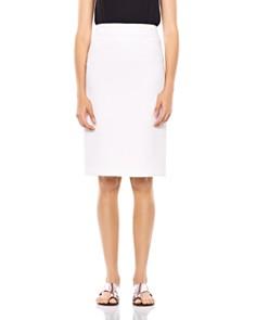 HALSTON HERITAGE - Fitted Crinkle Crepe Midi Skirt