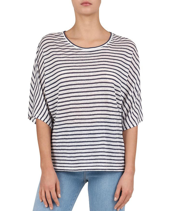 Gerard Darel Vilma Striped Linen Tee In Blue