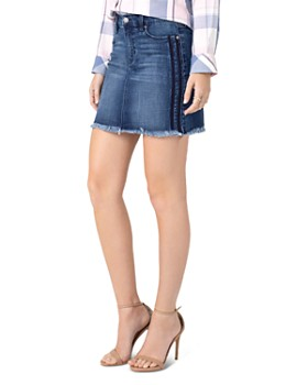 Liverpool - Side-Stripe Denim Skirt