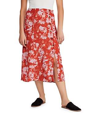 Free People Midi skirts RETRO LOVE PRINTED BUTTON-FRONT MIDI SKIRT