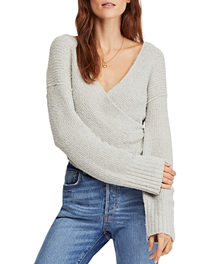 Free People Sweaters RIBBED FAUX-WRAP SWEATER