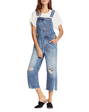 Free People Tops DISTRESSED CROPPED DENIM OVERALLS