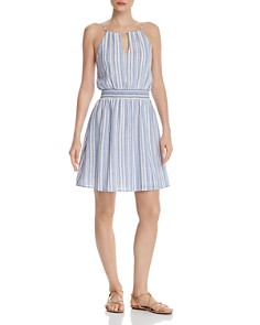 AQUA - Smocked-Waist Striped Dress - 100% Exclusive