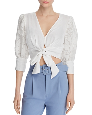 Chriselle Lim Puff-Sleeve Cropped Top - 100% Exclusive