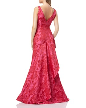 Carmen Marc Valvo Infusion - Floral Jacquard Gown