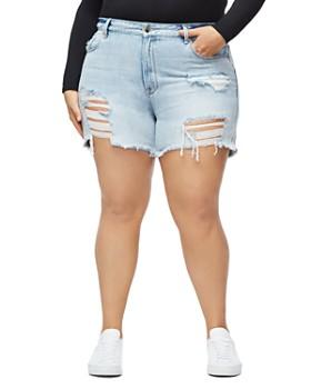 Good American - Cutoff Denim Shorts in Blue254