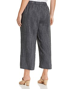 Eileen Fisher Plus - Striped Wide-Leg Cropped Pants