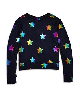 26dc17d9ae5b2 Terez - Girls' Rainbow-Foil Stars Sweatshirt - Little Kid, ...