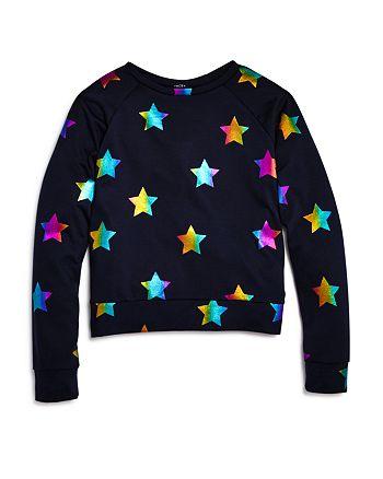 Terez - Girls' Rainbow-Foil Stars Sweatshirt - Little Kid, Big Kid