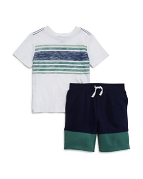 Splendid - Boys' Color-Block Striped Tee & Drawstring Shorts Set - Little Kid