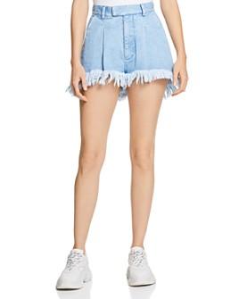 Ksenia Schnaider - High-Rise Denim Shorts in Light Blue