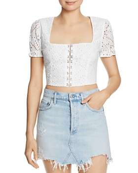 Flynn Skye - Silvia Eyelet Lace Cropped Top