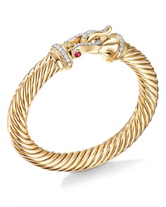 David Yurman - 18K Yellow Gold Cable Buckle Bracelet with Diamond & Ruby