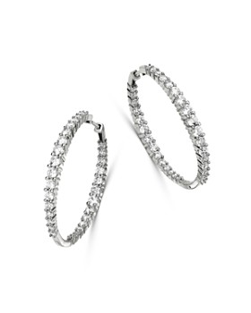 Bloomingdale's - Diamond Inside-Out Hoop Earrings in 14K White Gold, 5.0 ct. t.w. - 100% Exclusive