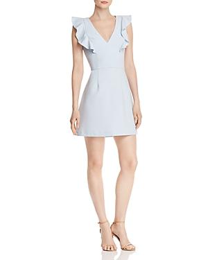 French Connection Dresses WHISPER RUFFLED V-NECK MINI DRESS