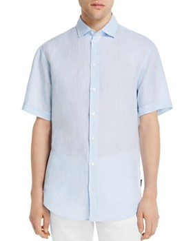 Armani - Short-Sleeve Flax Modern Fit Sport Shirt