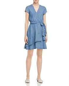 AQUA - Chambray Faux-Wrap Dress - 100% Exclusive