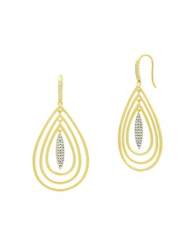 Freida Rothman - Fleur Bloom Empire Teardrop Earrings in 14K Gold-Plated & Rhodium-Plated Sterling Silver