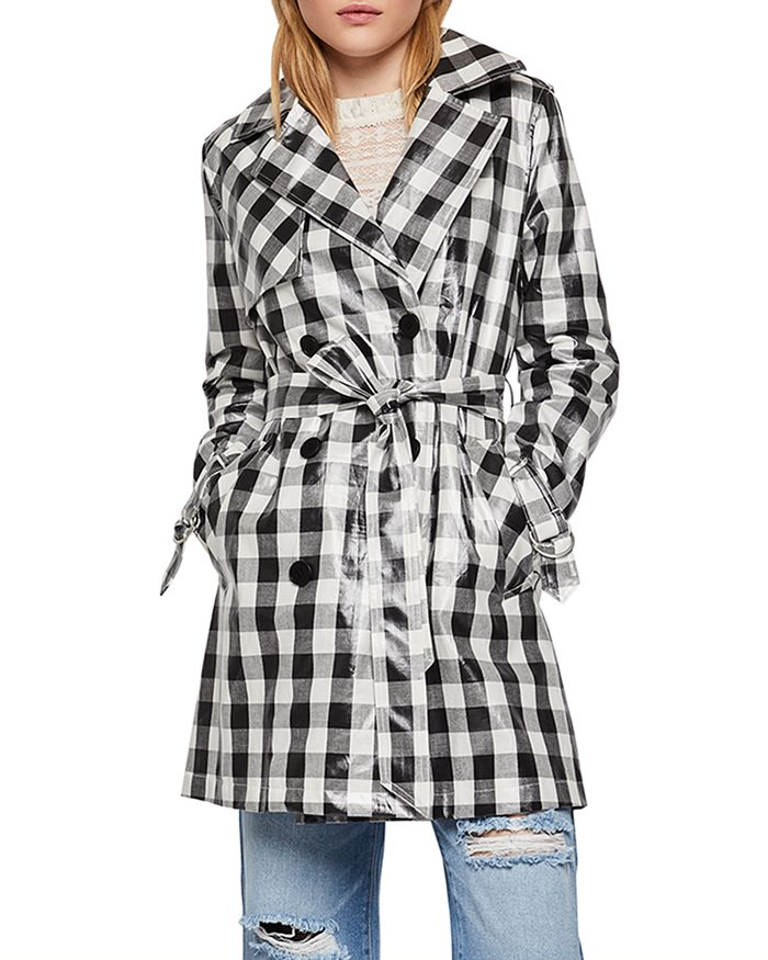 BCBGENERATION - Gingham Double-Breasted Trench Coat