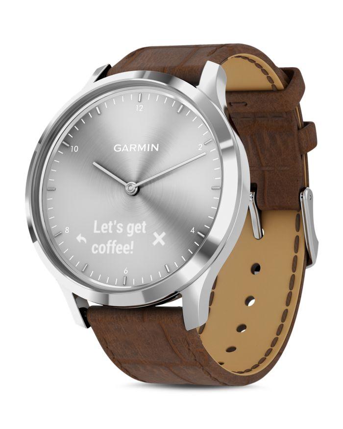Garmin Vivomove HR Brown Alligator-Embossed Leather Strap Touchscreen Hybrid Smartwatch, 43mm  | Bloomingdale's