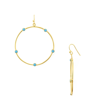 Argento Vivo Open Circle Stone Drop Earrings in 14K Gold-Plated Sterling Silver