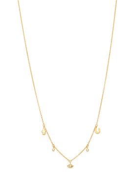 Zoë Chicco - 14K Yellow Gold Itty Bitty Dangling Charms Necklace, 18""