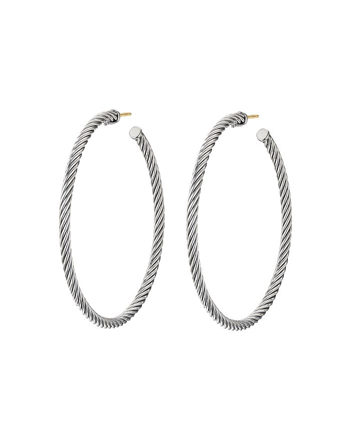 David Yurman STERLING SILVER CABLE LARGE HOOP EARRINGS