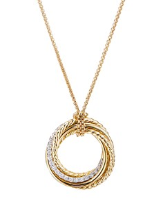 David Yurman - 18K Yellow Gold Crossover Diamond Pendant Necklace, 18""