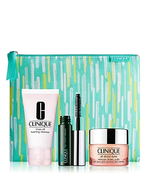 What It Is: An exclusive set that includes two of Clinique\\\'s best-loved for skin, plus their #1 mascara. Set Includes: - All About Eyes, 0.5 oz. (Full Size) - Rinse-Off Foaming Cleanser, 1 oz. - High-Impact Mascara (Travel Size) - Printed cosmetics pouch What It Does: Gives skin a fresh start. Rinse-Off Foaming Cleanser is a cream-mousse formula that rinses away makeup, comforts skin with soothing botanicals, and leaves skin feeling clean, refreshed. All About Eyes helps hydrate and brighten the