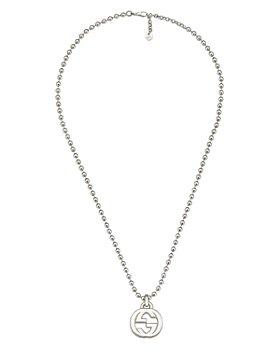 "Gucci - Sterling Silver Interlocking G Pendant Necklace, 21.65"""