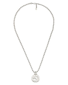 70617027b Gucci - Sterling Silver Interlocking G Pendant Necklace, 21.65