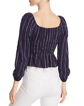 The Fifth Label - Coast Striped Smocked-Waist Top