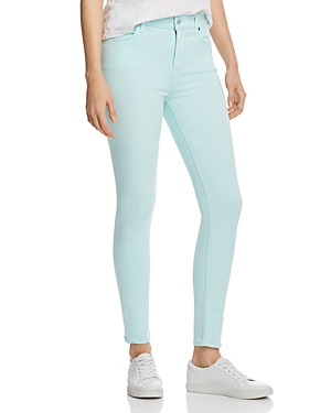 7 For All Mankind High Rise Ankle Skinny Jeans in Dark Mint