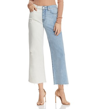 7 For All Mankind - Alexa Two-Tone Ankle Wide-Leg Jeans in Cloud Sky - 100% Exclusive
