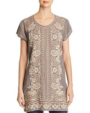 Johnny Was Tops RITA EMBROIDERED LINEN TUNIC
