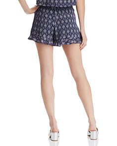 AQUA - Diamond-Print Ruffle Shorts - 100% Exclusive
