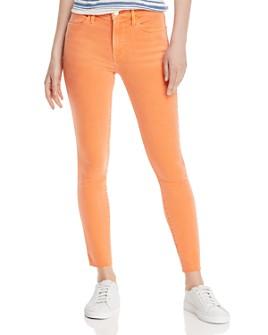 FRAME - Le High Raw-Edge Skinny Jeans in Orange Crush