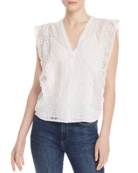 88eafa35902176 FRAME - Lace-Inset Pintuck Blouse FRAME - Lace-Inset Pintuck Blouse. Quick  View