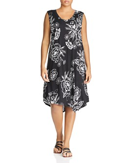 Marc New York Plus - Printed Jersey Asymmetric-Hem Tank Dress