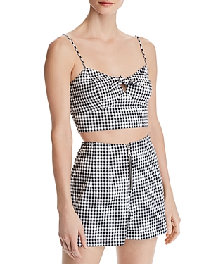 Guess Cropped Gingham Seersucker Top