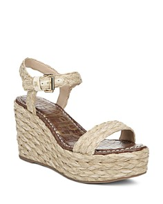 Sam Edelman - Women's Deena Raffia Wedge Heel Platform Sandals