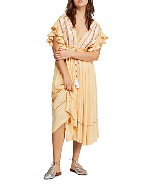 Free People Dresses WILL WAIT FOR YOU MIDI PEASANT DRESS