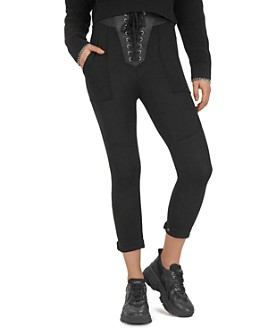 The Kooples - Fleece And Leather Lace-Up Sweatpants