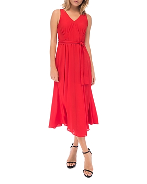 B Collection By Bobeau Dresses B COLLECTION BY BOBEAU SLEEVELESS PLEAT-FRONT MIDI DRESS