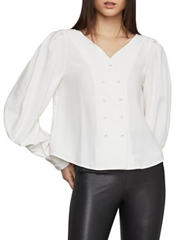 47218ed281202 BCBGMAXAZRIA - Double-Breasted Bishop-Sleeve Blouse ...