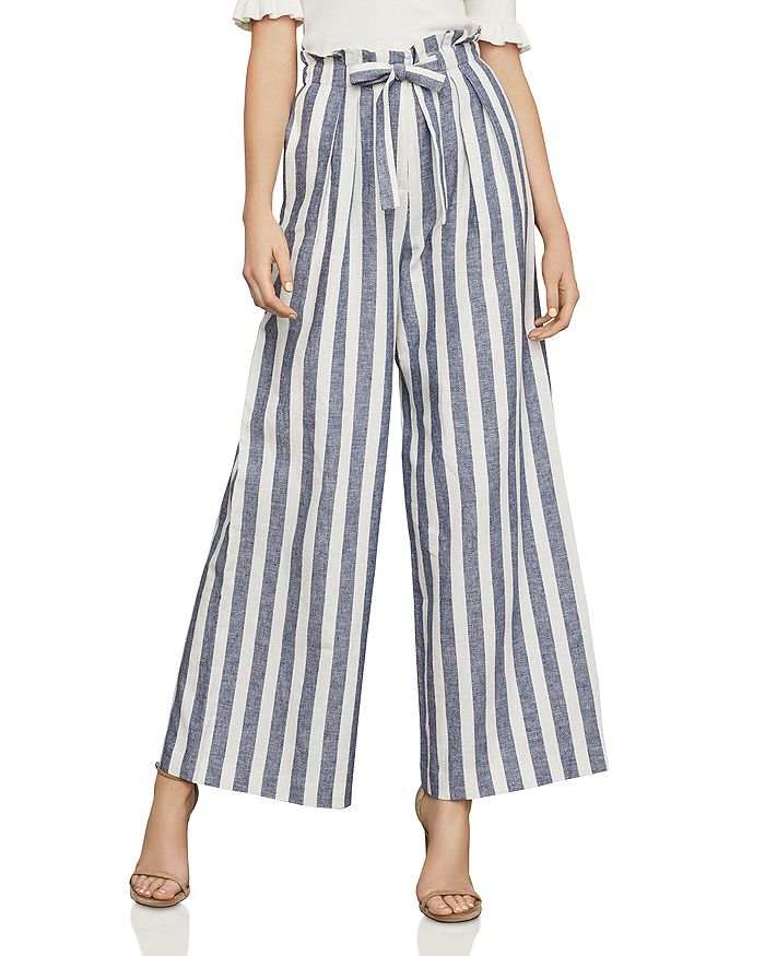 BCBGMAXAZRIA - Paperbag-Waist Wide-Leg Striped Pants