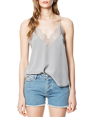 Zadig & Voltaire Tops CHRISTY EMBELLISHED SILK CAMISOLE TOP