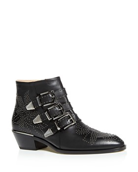 83bdc987b Chloé - Women's Susanna Pointed-Toe Studded Booties ...
